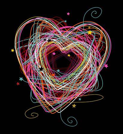 sentimental: hand drawn doodle heart sign on black background