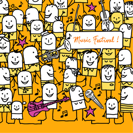 cartoon people and music festival card