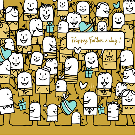crowd happy people: cartoon people and happy fathers day card