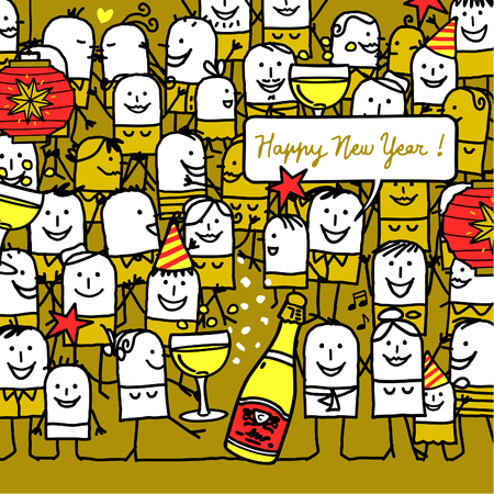 crowd happy people: cartoon people and happy new year card