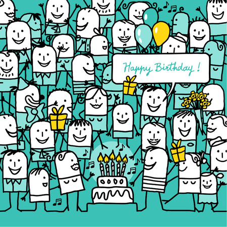 hand drawn cartoon: cartoon people and happy birthday card Stock Photo