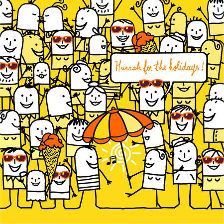 cartoon people and happy summer card