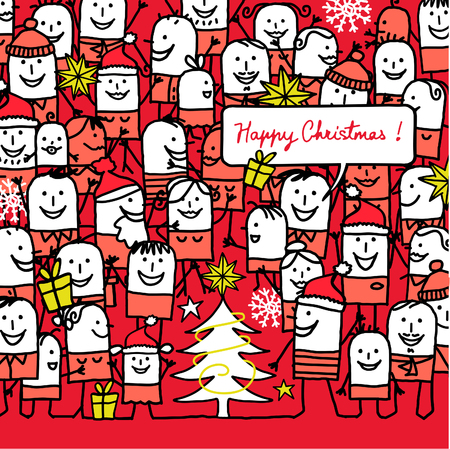 cartoon people and happy christmas card