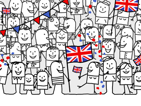 kids fun: cartoon people - english national day Stock Photo
