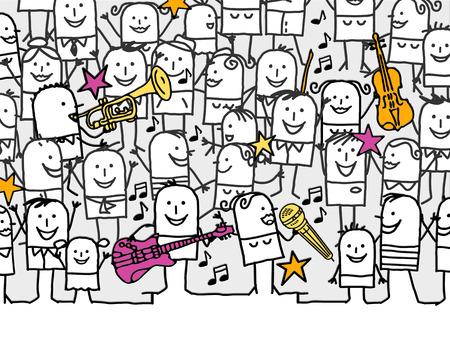 desenhado à mão o cartão do convite dos desenhos animados - festival de música