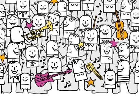 crowd of people: hand drawn cartoon invitation card - music festival Stock Photo