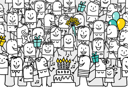 crowd of people: hand drawn cartoon greeting card - happy birthday