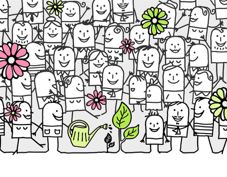 hurray: hand drawn cartoon card - hurray for spring days