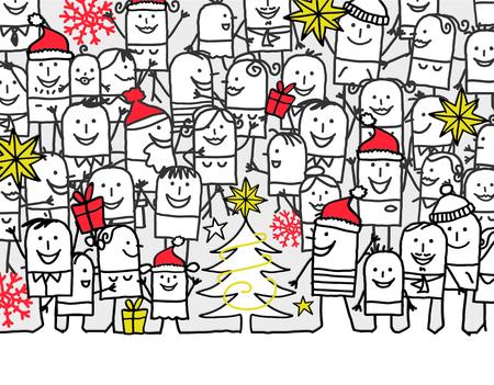 hand drawn cartoon greeting card - merry Christmas Stock Photo