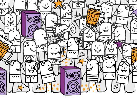tanzen cartoon: handgezeichnete Cartoon Einladungskarte - Partyzeit Lizenzfreie Bilder