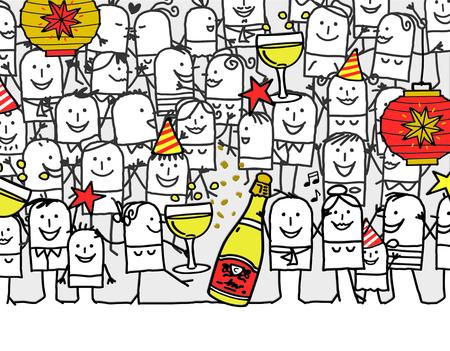 hand drawn cartoon greeting card - happy new year