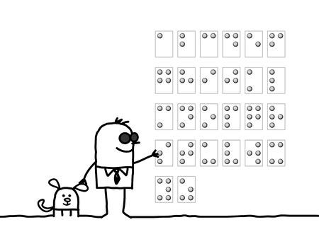 man reading: cartoon characters - blind man reading Braille alphabet