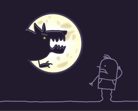 creep: hand drawn cartoon characters - werewolf & moon