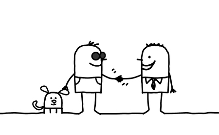 hand drawn cartoon: cartoon characters - blind man shaking hand with friendly people Stock Photo