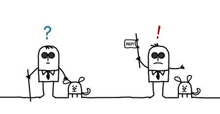 visually: cartoon characters - blind man expressions Stock Photo