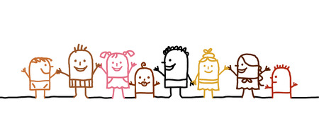 world group: hand drawn cartoon world kids Stock Photo