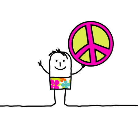 simbolo paz: dibujado a mano personaje de dibujos animados - paz y amor