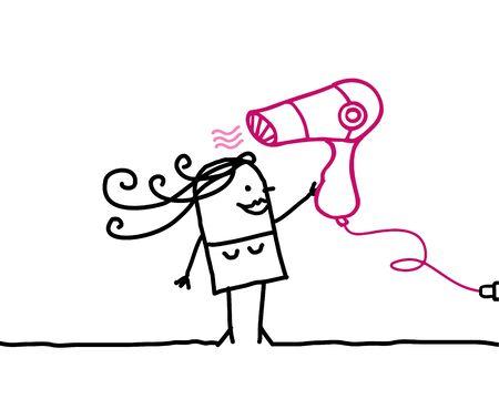 nice hair: Woman & Hair dryer - hand drawn cartoon characters
