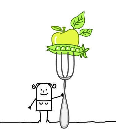 healthy woman white background: cartoon woman with big fork and green food