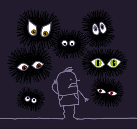 creep: hand drawn cartoon character - Nightmare  big eyes