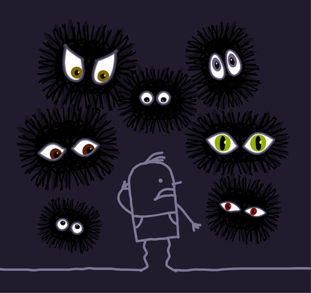 hand drawn cartoon character - Nightmare  big eyes