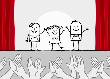 manos aplaudiendo: de dibujos animados de teatro muestran las manos aplaudiendo Foto de archivo