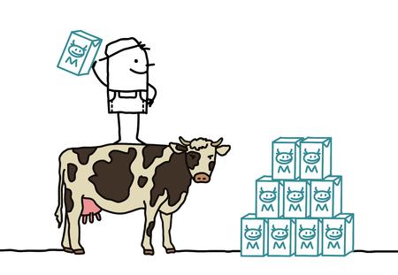 producing: cartoon characters - farmer  cow Producing milk