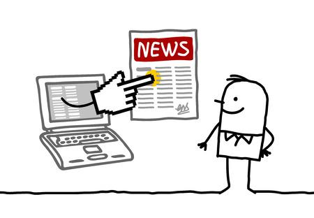 ノート パソコンとニュースを買う男