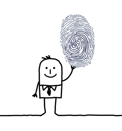 investigative: hand drawn cartoon characters - businessman & fingerprint