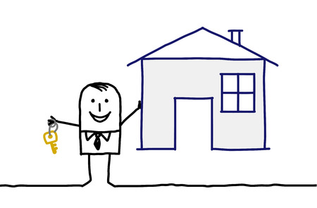 hand drawn cartoon characters - real estate agent & house