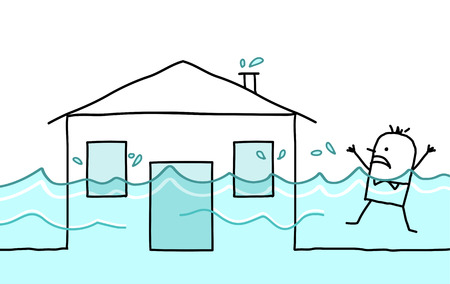 house flood: hand drawn cartoon character - man with house & flood