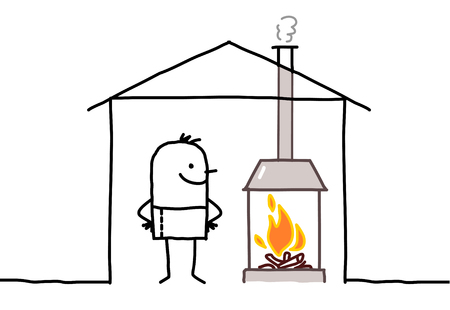 hand drawn cartoon characters - man in house & fireplace Stock Photo