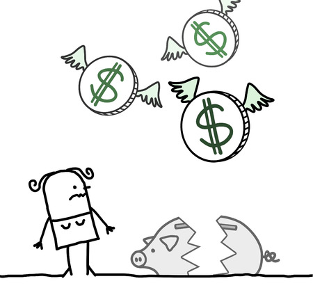 hand drawn cartoon characters - woman and broken piggy bank