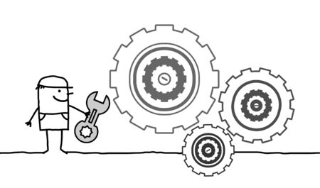worker cartoon: personajes de dibujos animados dibujados mano - trabajador y engranajes Foto de archivo