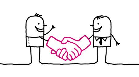handshaking: hand drawn cartoon characters - men handshaking