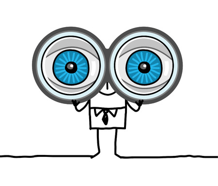 hand drawn cartoon characters - big eyes and binoculars Zdjęcie Seryjne