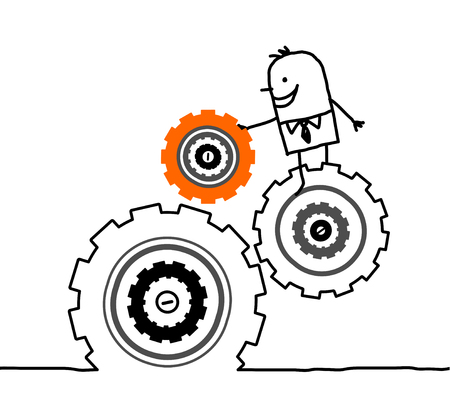inventor: hand drawn cartoon characters - businessman and gears
