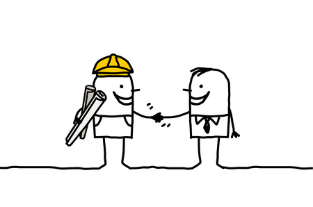 foreman: hand drawn cartoon characters - foreman and client handshake