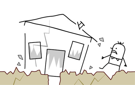 collapsing: hand drawn cartoon character - man with house & earthquake