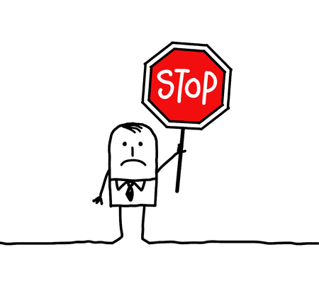 hand drawn cartoon characters - man and stop 스톡 콘텐츠