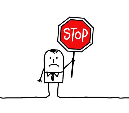 hand drawn cartoon characters - man and stop Archivio Fotografico