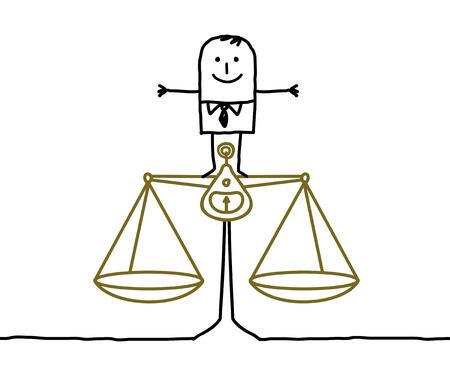 hand drawn cartoon characters - man & balance, justice
