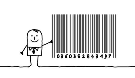code bar: hand drawn cartoon character - businessman & bar code