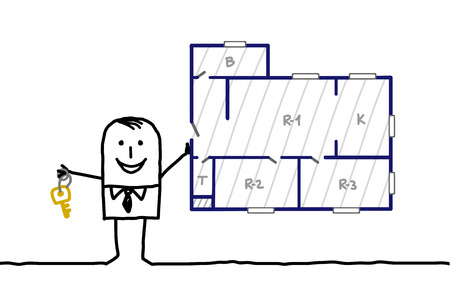 construction plan: hand drawn cartoon characters - real estate agent & apertment plan