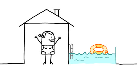 swimming pool woman: hand drawn cartoon characters - woman & house with swimming pool