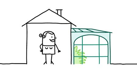 veranda: hand drawn cartoon characters - woman & house with veranda