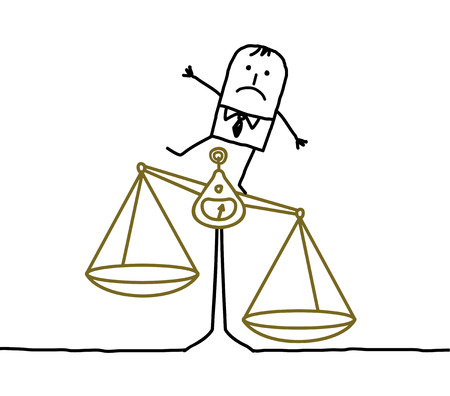 imbalance: hand drawn cartoon characters - man & imbalance, injustice