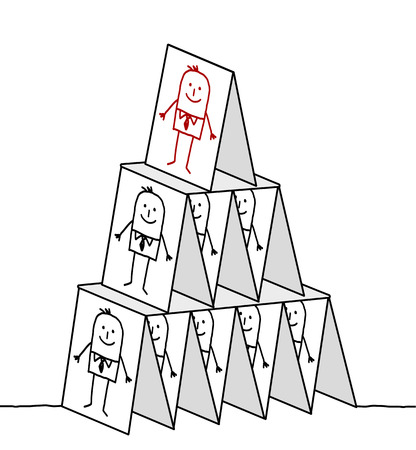 hand drawn cartoon characters - leadership & cards pyramid Stok Fotoğraf