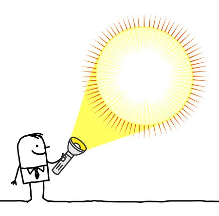hand drawn cartoon characters - man with blank flashlight