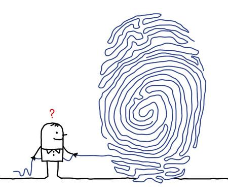 hand drawn cartoon characters - man & fingerprint maze